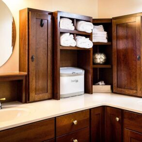 Master bath with cabinet space for storage